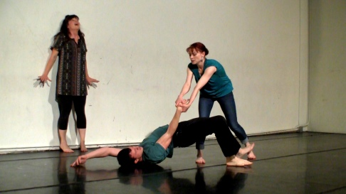 Julie Douglas, Soren Santos and Christy Crowley in Meltdown Fugue - curated by Rebecca Longworth - photo by Mark McBeth