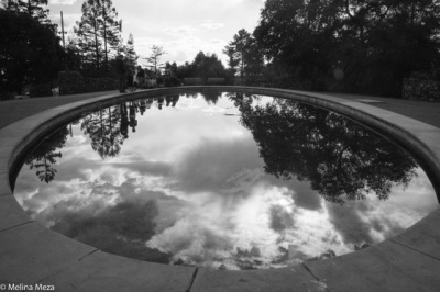Sky reflected in the pool at Joaquin Miller Park, Oakland. Photo by Melina Meza.