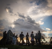 Audience gathers for a final performance at the Pyramid to Moses. Photo by Melina Meza.