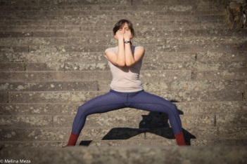Lili Weckler dances on the Joquin Miller Park stairs. Photo by Melina Meza.