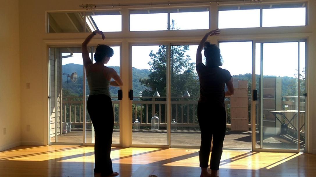 Lili and Hannah rehearsing