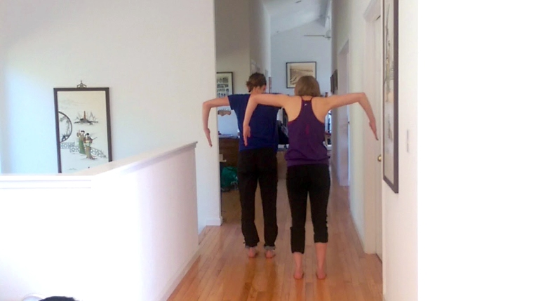 Nicky and Jessi rehearsing their hallway duet